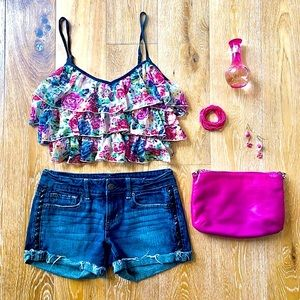 BAND OF GYPSIES floral ruffle colourful crop top